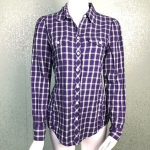 Banana Republic Purple Plaid Button Down Top